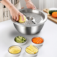 不锈钢盆刨丝擦丝神器萝卜丝家用厨房漏盆洗菜沥水多功能圆形盆子