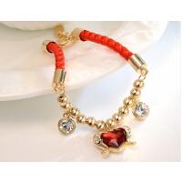 日韩版女男士配饰礼品 生肖猴年本命年爱心水晶红绳情侣手链一对