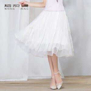 【618狂欢新品直降再享�弧垦袒ㄌ� 2018夏装新款女装气质时尚新款多层次拼接蕾丝半身裙 萤烁