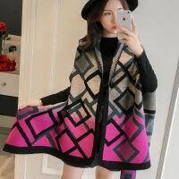 户外女士加厚保暖披风 时尚百搭双面斗篷外套女 韩版仿羊绒防寒披肩女围巾