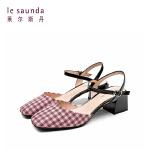 莱尔斯丹19新款中跟格纹凉鞋女 AM41602