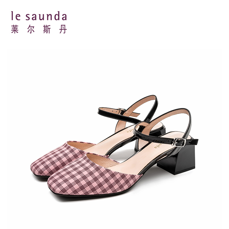 莱尔斯丹19新款中跟格纹凉鞋女 AM41602 中跟格纹凉鞋女