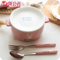 白领公社 泡面碗带盖 可爱兔子卡通双耳陶瓷碗大号陶瓷碗创意日式餐具学生饭碗方便面碗饭盒