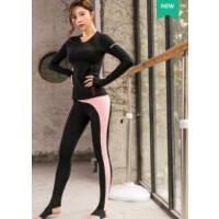 时尚新空中瑜伽服健身房运动套装女含胸垫长袖踩脚裤韩