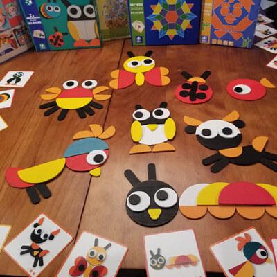 七巧板智力拼图儿童男孩女童蒙3-6周岁4-7氏早教具积木质益智玩具 早教启蒙教具 玩法多样