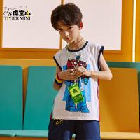 【3件2折:35元】小虎宝儿男童纯棉背心2021夏季新款儿童宽松童装中大童洋气