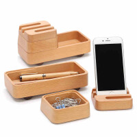 实木办公桌面文具收纳整理盒书桌文具用品杂物收纳盒可叠加创意礼品