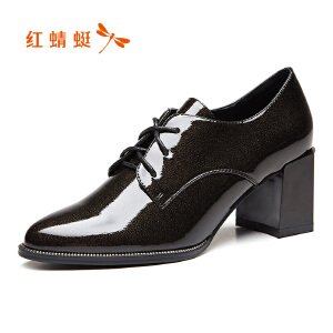 红蜻蜓女鞋2017秋季新款正品时尚尖头英伦休闲粗高跟单鞋女鞋子