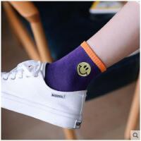 韩版笑脸刺绣中筒袜子女秋冬季长棉袜学院风学生运动吸汗短袜