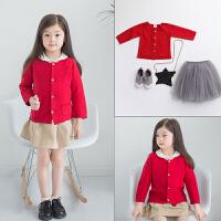 女童针织衫开衫宝宝纯棉线红色韩版上衣潮婴幼儿外套儿童秋装毛衣 红色