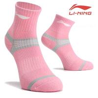 李宁羽毛球袜女款 加厚毛巾底运动袜 女袜子防滑吸汗AWSN318