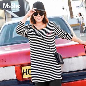 MsShe加大码女装2017新款冬装胖mm磨毛弹力棉条纹拼接t恤M1740671