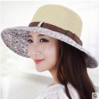 女太阳帽遮阳帽夏天防晒防紫外线可折叠凉帽沙滩帽大沿草帽