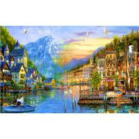 1000片木质拼图500浓墨重彩油画系列装饰画 城堡小镇