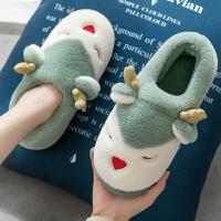 棉拖鞋女士秋冬季家用情侣室内可爱保暖毛绒月子鞋包跟儿童家居男 麋鹿 绿色