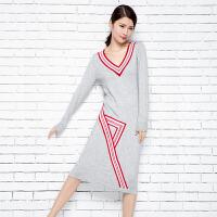 2018春季新款女士V领纯山羊绒衫修身针织羊绒裙条纹打底套头毛衣
