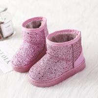 女童雪地靴冬季儿童棉鞋防水宝宝靴子公主男童鞋加绒亮片