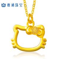 CNUTI粤通国际珠宝 黄金吊坠999足金3D硬金 可爱KT猫 约1.61g