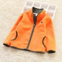 儿童摇粒绒外套秋童装韩男女童双面绒拉链开衫卫衣保暖运动夹克 黄色 5721