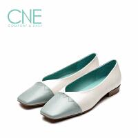 【顺丰包邮,大牌价:294】CNE2019春夏新款温柔鞋方头撞色奶奶鞋芭蕾舞鞋女单鞋AM18201