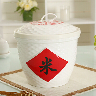shunxiang 顺祥 陶瓷 水波纹陶瓷储物米缸5KG