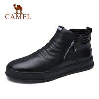 camel骆驼男鞋秋冬新品青年加绒休闲牛皮靴英伦潮流防滑时尚中帮鞋