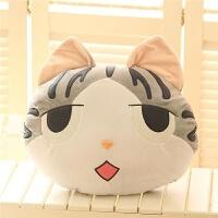 可爱起司猫咪公仔暖手捂抱枕被子两用靠垫插手三合一毛绒毯子女生