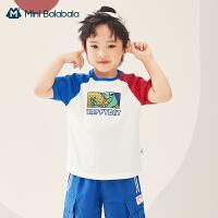 迷你巴拉巴拉短袖2021夏季新款男童纯棉撞色柔软亲肤经典复古T恤