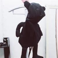 ins斜跨包潮黑色小熊布偶包 单肩手提双肩背包尼龙布包女 黑色熊