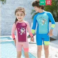 韩版新品儿童泳衣分体男童女童泳装分体长袖游泳衣防晒新颖宝宝泳衣