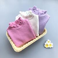 女童毛衣套头纯棉秋婴儿毛线衣小童针织衫打底衫女宝宝上衣高领
