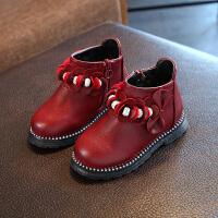 宝宝靴子1-3岁女童鞋加绒二棉冬2018新款秋冬儿童鞋子女软底棉鞋 酒