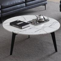 意式极简大理石圆形茶几组合北欧客厅家用沙发边几轻奢铁艺小茶桌 组装