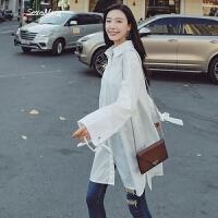 2018韩版春装新款蝴蝶结系带长袖宽松白衬衫女学生中长款chic衬衣 白色