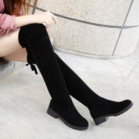 长靴子女秋冬季低跟粗跟小辣椒过膝靴弹力高筒平底学生秋冬女靴黑 黑色