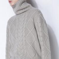 100%纯羊绒衫女高领加厚套头宽松毛衣大码显瘦毛针织衫