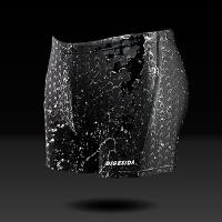 男士泳裤加大加肥平角防水透气速干黑色游泳衣鲨鱼皮黑色时尚 鲨鱼皮 短款