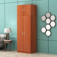板式衣柜带顶柜可分拆自由组合二三四门大容量储物柜阳台柜收纳柜 柚木色 图片为