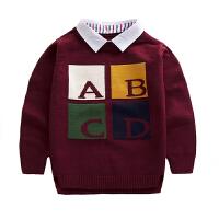 2017秋新款儿童装衬衣领假两件羊绒包芯纱男童圆领毛衣针织衫