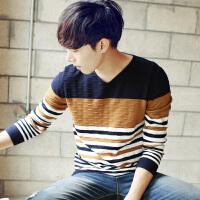 翰代维冬季男士毛衣 韩版V领套头针织衫秋季学生潮男装线衣外套