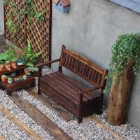 公园长椅碳化换鞋凳储物户外长板凳大型储物椅防腐木仿古休闲靠背 碳化色