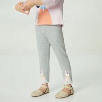 【2件4折价:47.6】安奈儿童装女童打底裤2021新款宝宝春装裤子1洋气绣花3岁女孩长裤