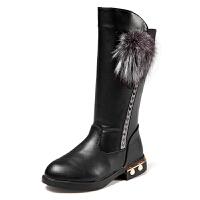 女童靴子加绒中高筒靴大童公主长靴秋季韩版马丁靴二棉皮靴 黑色 27码/内长约16.6厘米