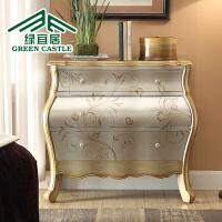 美式彩绘斗柜实木客厅储物柜欧式卧室抽屉柜子收纳柜玄关柜多功能 整装