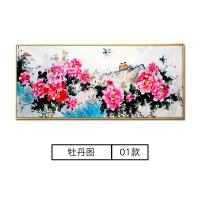 国画牡丹手绘客厅沙发背景墙挂画中式花开装饰画
