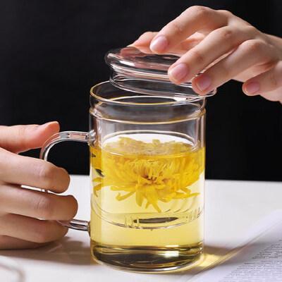 光一带把男士玻璃喝茶杯过滤网茶水分离泡茶家用水杯带盖透明茶叶杯子