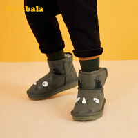 巴拉巴拉儿童雪地靴男童靴子短靴2019冬季新款时尚灯鞋保暖韩版男