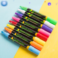 LED电子荧光板笔 可擦莹光笔发光黑板彩色银光玻璃水性荧光笔 6mm荧光笔 (8支装)