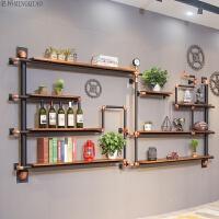 美式铁艺墙上水管置物架客厅隔板实木书架墙壁装饰工业风壁挂架子