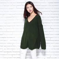 2018春季新款女士V领纯山羊绒衫休闲宽松大码长袖针织套头毛衣